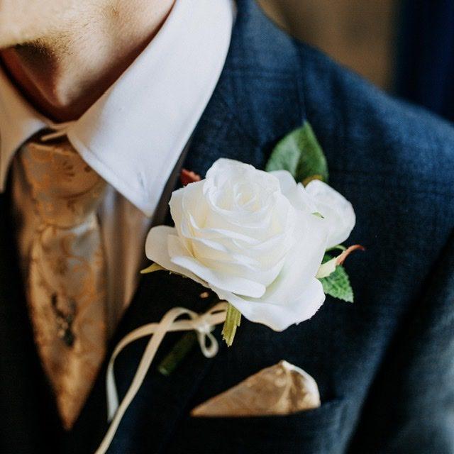 Double Silk Rose Buttonhole